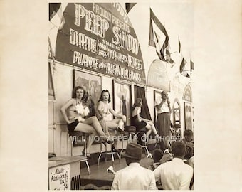 Vintage Circus Peep Show Barker with Lovely Ladies before Crowd 8x10 Photo Reprint 51