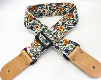 Selected Promotion item!  NuovoDesign  Botanical prints ( 3 patterns available) Guitar strap, leather parts