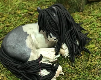 Sleeping Blue Gypsy Vanner Horse, Polymer Clay Sculpture