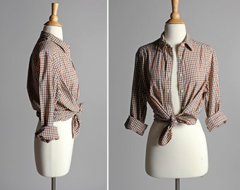 Vintage Fall Gingham Button Up Blouse- Red Blue Green Tan Plaid Top Shirt Long Sleeve Blouse Boyfriend Oxford Country- Size Medium