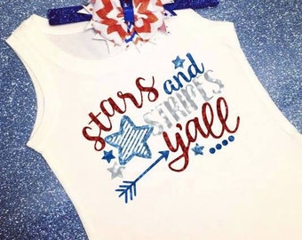 Girls 4th of July Shirt, Patriotic Shirt, Fourth of July Shirt, 4th of July Cutie, Red White And Blue Shirt, Stars And Stripes Shirt