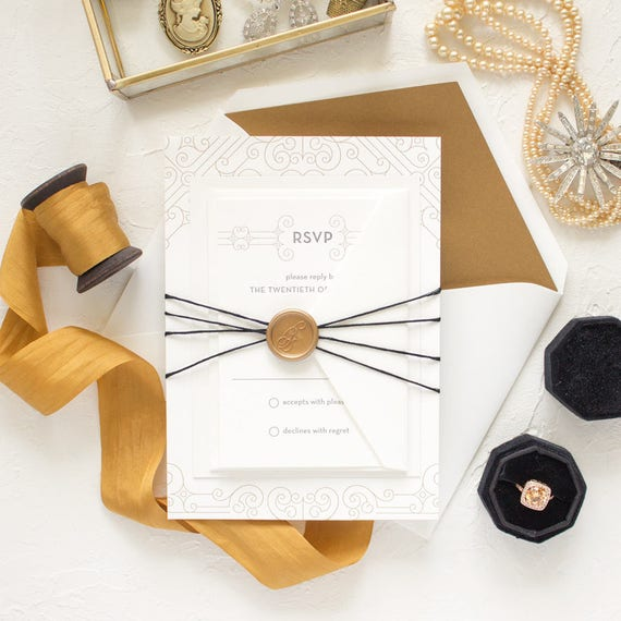 Elegant Wedding Invitations, Gold Vintage Letterpress Invitations, Metallic Gold Letterpress Wedding Invite SAMPLE | Posh