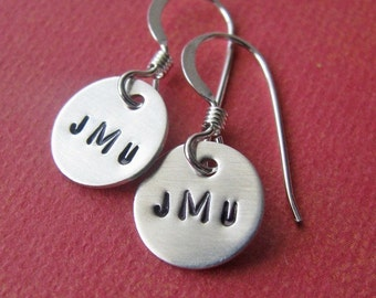 custom silver monogram earrings
