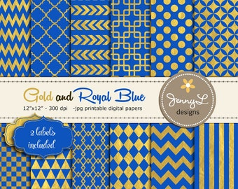 Royal Blue and Gold Digital Papers, Geometric Gold and Royal Blue Digital papers, Gold Digital Scrapbooking Papers, Blue and Gold,