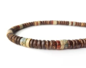 Surfer men's necklace - wood and gemstone necklace for men - Earth and Sea
