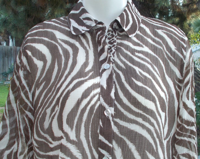 Vintage 90s Animal Print Alfred Dunner Petites Brown Sheer Zebra Polyester Casual Career Womens Button 3/4 Sleeve Blouse Shirt Top 10P