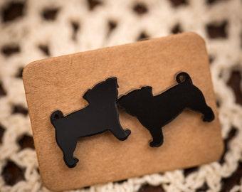 FREE SHIPPING - Black Pug Acrylic Earrings - Surgical Steel - Pug Jewellery - Pug Studs