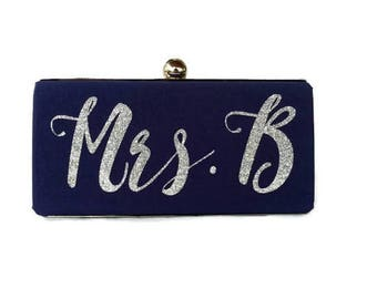 Monogrammed bridal  purse/ Navy Blue minaudiere clutch /Something blue purse /Personalized Gift for her/ Custom made purse/Spring wedding
