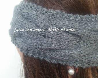 Grey wool headband