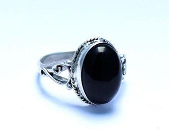 Black Onyx Ring, Black Stone Ring, Silver Ring, 925 Sterling Silver Ring, Gypsy Ring, Natural Stone Ring, Gemstone Ring, Black Ring