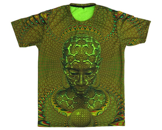 Psychedelic T-shirt 'Ancestral Ornament'. All over sublimation print. Trippy T-shirt, UV active, trancewear, festival wear, visionary art