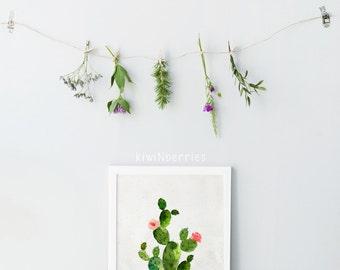 Cactus print - Boho cactus - Cottage chic - Rustic cactus art - Printable art gift - Cacti print - Watercolor cactus - Digital prints