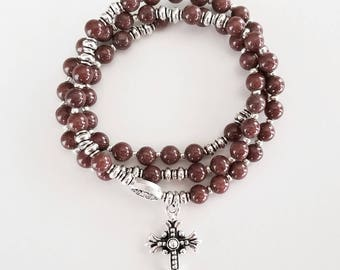 Coffee Brown Mountain Jade Stretch Rosary Bracelet