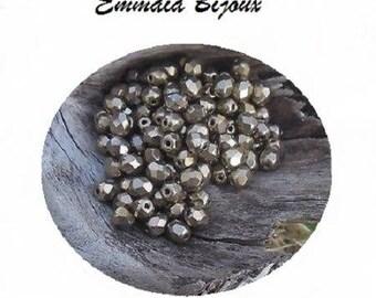30 bronze 5 mm faceted Czech beads