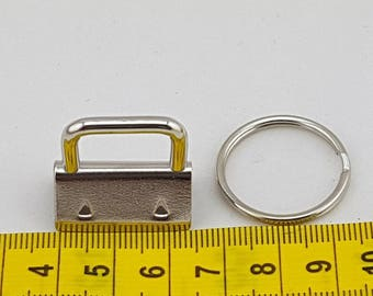 25mm  - Key Fob Clasp and Split Ring - Silver 2 Pk