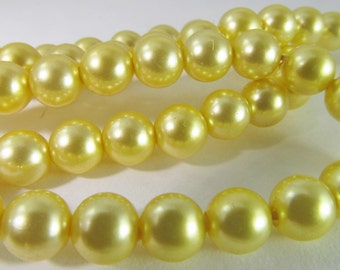 80 Vintage 6mm Golden Yellow Faux Pearl Beads Bd1372