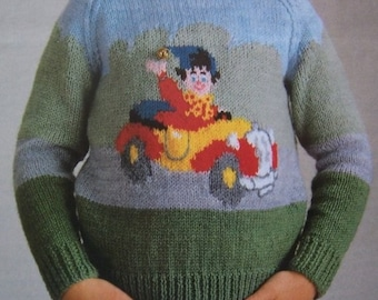 Vintage Digital Knitting Pattern  Noddy in Car Sweater Jumper Pullover to Knit - Instant Download - PrettyPatternsPlease