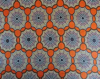 SOLD AT COST - African fabric, Ankara wax print, orange and white