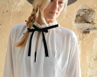 peasant blouse - long sleeve blouse - peasant shirt - womens blouses - autumn clothing - modest clothing - womens clothing - RibbonBlouse