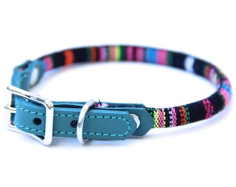 Cat Collar or Small Dog Collar - Teal/Multicolor
