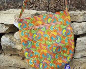 Clearance: Orange Paisley Trail Tote / Retro Trail Tote / Retro Messenger Bag