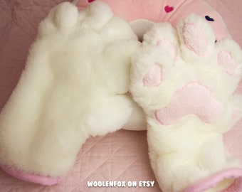 White and Pink Paw Gloves