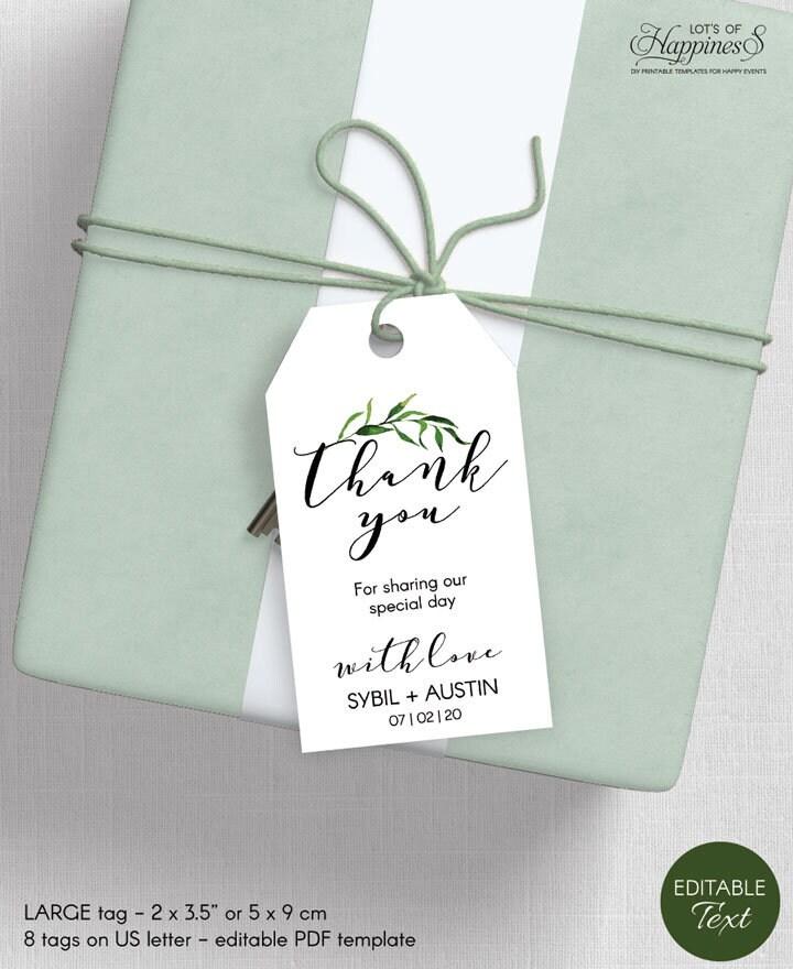 Thank You Tags Editable Greenery Wedding Favor Tags