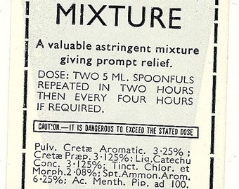 Diarrhea Mixture Vintage Quack Medicine Label, 1920s