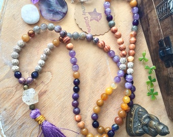 108 Mala Necklace Silk tassel. SunChild: Citrine Mala Amethyst Jade Wood Seeds, 108 Mala beads, Yoga gift, Quartz Japa Mala, Yoga jewelry