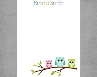 Charming Owls Sitting on Tree Branch in Pink, Teal, & Lime Green - Personalized Custom Notepads - To Do List, Favor, or Gift - *Owl Trio*