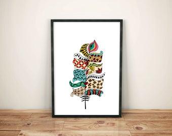Feather Print, Feather Poster, Boho Decor, Boho Print, Boho Poster, Bohemian, Feather Art, Printable Art, Digital Download, Home Decor