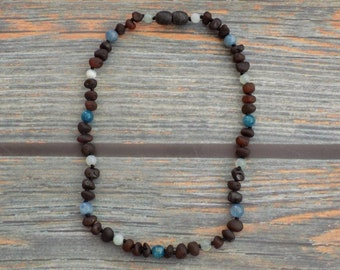 "13"" Highly Sensitive Person Baltic Amber and Gemstone Necklace Knotted on Silk Teething Necklace Natural Pain Relief, Infused with Intention"