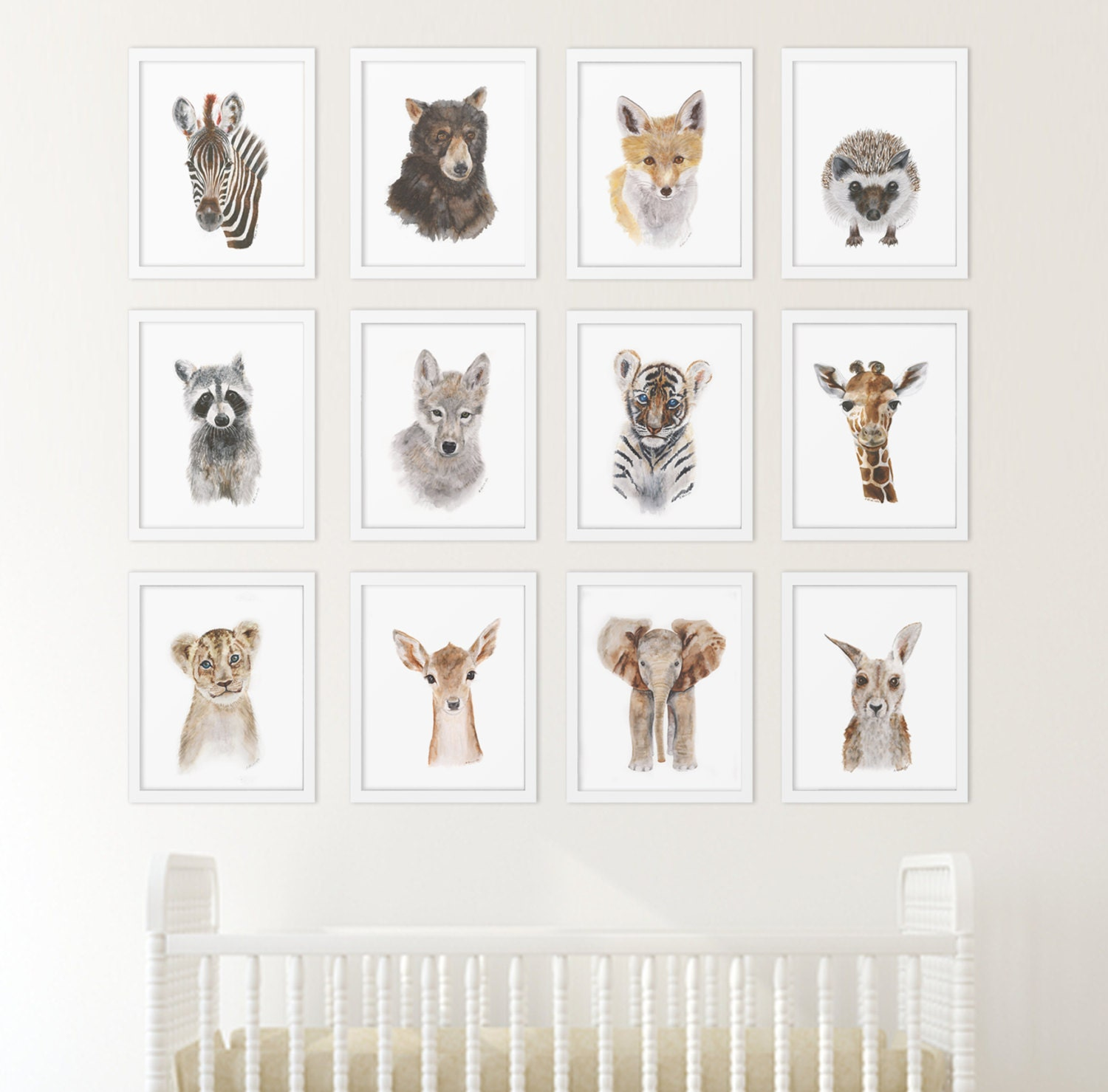 ?zoom  sc 1 st  Etsy & Set of 12 Prints Animal Art Collection Nursery Art Home