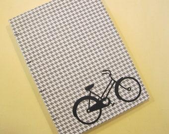 Bicycle Heart Handmade Journal Notebook: Grey Houndstooth Bike Hardbound Coptic Book
