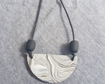 Marble clay necklace