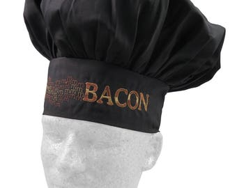 MMM... Bacon Humorous Embroidery on an Adjustable Restaurant Wear Black Chef Hat Toque for Bacon Lovers