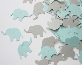 "Elephant Party Decoration, Boy Baby Shower Elephant Confetti, Baby Blue & Gray Elephant Cutouts, Birthday Party Decoration, 1.5"", 100 Ct."