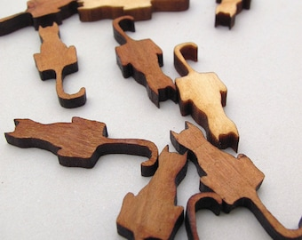 """Mini Cat Charms - 1"""" Long Laser Cut Mini Wood Cats - Pack of 15 - Assorted Woods -  Timber Green Woods Sustainable Forestry Products"""
