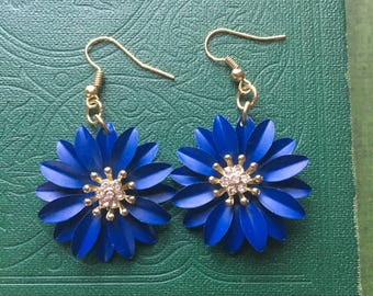 Vibrant Blue, Cobalt Blue, Blue Flower, Dahlia Jewelry, Daisy Jewelry, Spring Jewelry, Flower Chandelier Earrings with Gold Accents