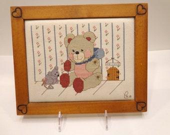 Teddy Bear Framed Art-Cross Stitch