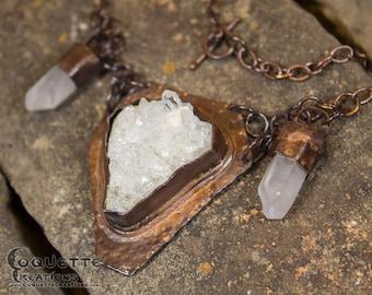 Quartz Crystal Chain Copper  Necklace