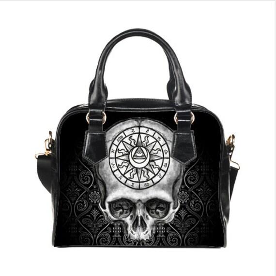 Astrological Skull Shoulder Handbag