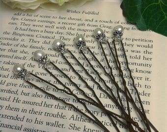 Six Freshwater Pearl Wedding Hairpins with Vintage Style Floral Mounts