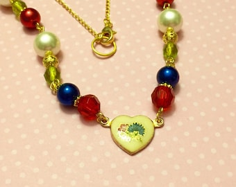 Beaded Necklace with Vintage Enameled Floral Heart Charm in Red, Blue Green and Beige