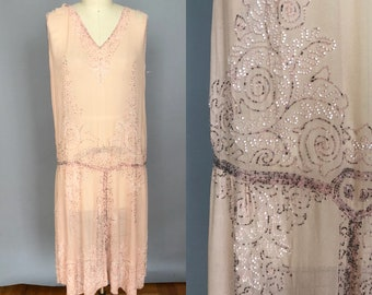 1920s beaded flapper dress  french made salvage