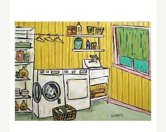 Egret Doing Laundry Art Print