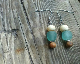 Recycled Seagreen Glass beads, Bayong Wood, Bone, Silver Heishi Trade Bead Earrings with Sterling Silver findings