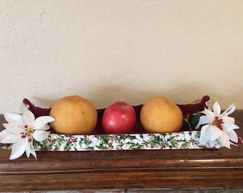Small or Large Holly Centerpiece Tray for Easy Winter Decorating