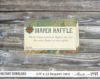 Diaper Raffle Tickets Printable - Vintage Map Compass - Baby Shower