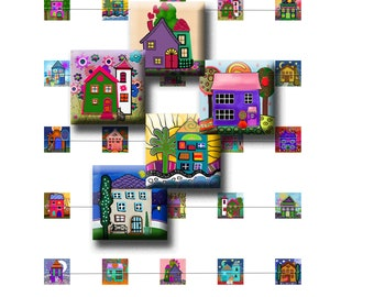 HOME SWEET HOME - Digital Collage Sheet 15mm square images. Pendants, magnets, earrings.  Instant Download #223.